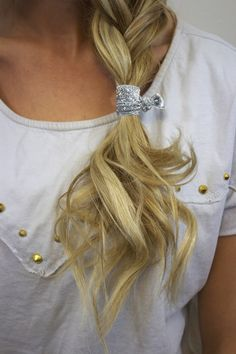 tie off a braid with a cute, non-damaging elastic