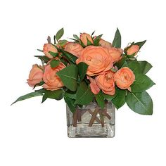 "9"" Rose Arrangement - Faux Arrangements (35 KWD) ❤ liked on Polyvore featuring home, home decor, floral decor, decorative accessories, orange, rose arrangement, floral arrangement, artificial floral arrangement and rose home decor"