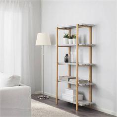 IKEA YPPERLIG, Regal, 90x166x35 cm, hellgrau, Birke