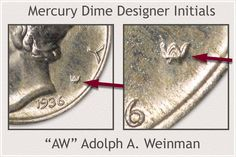 Close-Up of - AW - Designer Initials Valuable Pennies, Valuable Coins, Sell Coins, Us Coins, Silver Dimes, Silver Coins, Coin Collection Value, Silver Value, Old Coins Value