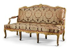 date unspecified A Louis XV carved giltwood canape mid-18th century  Оценка   3,000 — 5,000  GBP 3,989 - 6,648USD. unsold