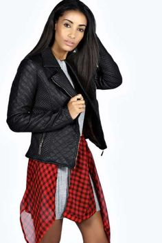 Carla Quilted Faux Leather Biker Jacket at boohoo.com
