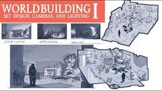 WORLD BUILDING I: Set Design, Camera Mechanics, and Lighting Environment Sketch, Environment Design, Design Set, Hiit, Art Tutorials, Drawing Tutorials, Camera Movements, Ghost Stories, Level Up