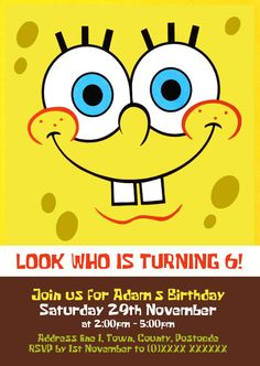 Our spongebob party hats are a bright yellow hat with spongebobs spongebob square pants birthday invitation designed by me at nics designs solutioingenieria Gallery