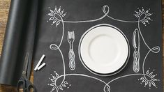Chalkboard Wrapping Paper Placemat Papersource via Better Homes & Gardens | The Raise Of The Paper Placemat, Paper Place Settings http://www.storyboardwedding.com/why-it-works-wednesday-raise-of-the-paper-placemat/