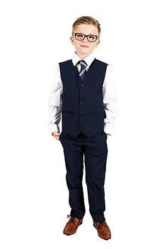 Vivaki 5 Piece Slim Fit Navy Suit, 0/3m to 14 Years: Amazon.co.uk: Clothing