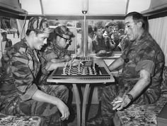 Playing chess with Anthony Quinn on the set of Lost Command.