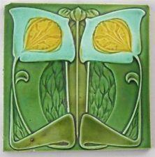 Antique Art Nouveau Tile By Cleveland Co C1903 5 1