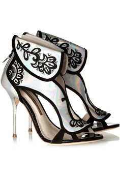Sophia Webster Leoni Holographic Leather Sandals in Silver | Lyst
