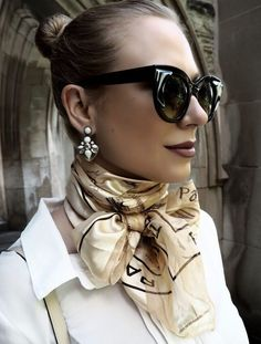 Silk neck scarf, double-wrapped