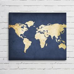 Navy WORLD MAP Wall ART- Canvas World Map Print in Navy Blue and Gold