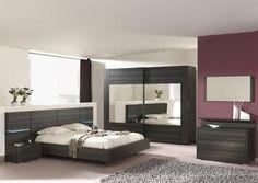 Chambre adulte complète contemporaine coloris wengué PUCKET