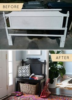 Before & After: A Headboard Is Given A New Life…As A Bench!