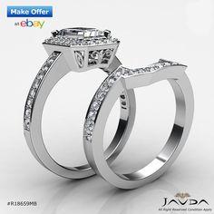 Emerald Diamond Engagement GIA I Color VS2 14k White Gold Bridal Set Ring 2.1 ct