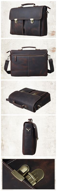 Vintage Genuine Leather Briefcase Messenger Bag Laptop Bag