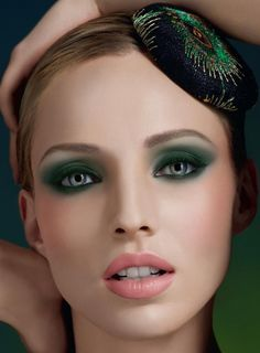 These eyes speak volumes. green eye shadow.