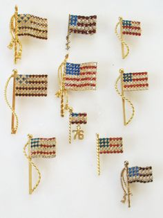 LOT 10 VTG American Flag Pins Brooch Rhinestone Prong Set Glass Stones Patriotic Gift Americana Patriot Estate Jewelry Bling Glitz Glam by SweetHeirlooms on Etsy