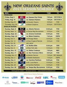 New Orleans Saints 2013 Season Schedule