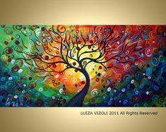 SEASONS Large 72x36 Modern Abstract Fantasy Tree Landscape Large canvas Original Painting by Luiza Vizoli