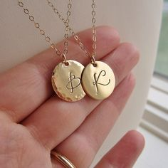 Custom bridesmaids necklace personalized gold by KGarnerDesigns, $36.00