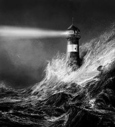 The fiancee was out at sea when a storm hit the coast, leaving her helpless, the keeper and lighthouse watching. The striking beam of light in this image makes me think that the lighthouse has hope for the keeper's fiancee. Lighthouse Sketch, Lighthouse Storm, Lighthouse Painting, Tattoo Barco, Storm Tattoo, Lighthouse Pictures, Black And White Photography, Sleeve Tattoos, Scenery