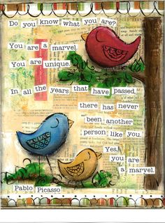 Inspirational Art, You are a Marvel Birds in primary colors, Pablo Picasso, 8 x 10 Fine Art Print. $18.00, via Etsy.