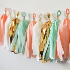 Items similar to Peach Mint Ivory Gold Tassel Garland, Peach Mint Baby Shower Decoration, Nursery Garland, Peach Mint Gold Bridal Shower, Peach Mint Wedding on Etsy Coral Baby Showers, Peach Baby Shower, Gold Bridal Showers, Gold Birthday Party, Gold Party, Mint Party, Birthday Ideas, Peach Mint Wedding, Color Menta