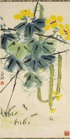 Loofahs grown around trellis, ink painting by Qi Baishi - Japan Painting, Ink Painting, Pablo Picasso, Chinese Painting, Chinese Art, Chicken Ham, Happy Sun, Calligraphy Art, Brush Strokes