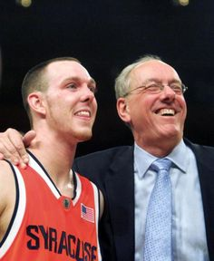 Jim Boeheim: Syracuse coach Jim Boeheim and guard Gerry McNamara were all smiles after an overtime win in the 2007 Big East Tournament.
