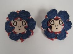 Handmade hair barrette for dogs - red and blue