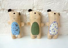 Bear stuffies felties with applique tummies, nice embroidered faces