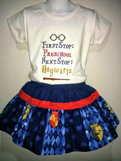 Girls Harry Potter Hogwarts Wizard Back to School Boutique Skirt Set Outfit! Twirly Skirt! Embroidered Applique Shirt! 2 3 4 5 6 7 8!