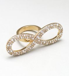 18K Gold Plated Pavé Crystal Encrusted Ring, Infinity Symbol. * Size 6/7