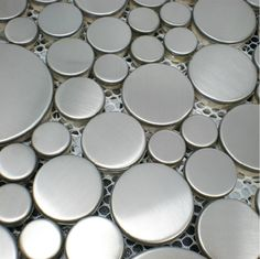 Brushed Silver Metal Mosaic SMMT024 Penny Round Metallic Stainless Steel  Wall Tile Bubble Mosaic Tiles Backsplash