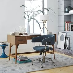 mid century table makes a great fit into modern workspace