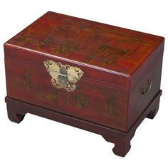 Red Bonded Leather Hand-painted End Table/ Storage Trunk Storage Trunk, Table Storage, Storage Spaces, Chinese Furniture, Oriental Furniture, Leather Box, Bonded Leather, Painted End Tables, Hand Carved