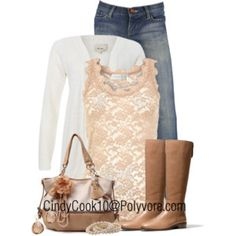 Jeans with a touch of girly:)