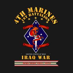 Check out this awesome '1st+Bn+4th+Marines+Iraq+War+w+Streamer' design on @TeePublic!