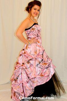 Mossy Oak Camo Prom Dress Strapless Hot Pink Camouflage Dress XS ...