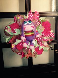 Deco mesh donkey wreath. Great for a small princess. Added ribbon strips, owls, flowers and butterflies. And of course hand crochet cute monkey.  More at https://www.facebook.com/Moje-vence-995508700482994/
