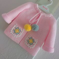 Knitted Baby Cardigan, Baby Knitting Patterns, Knitting Ideas, Diy And Crafts, Knit Crochet, Pullover, Children, Bikinis, Sweaters