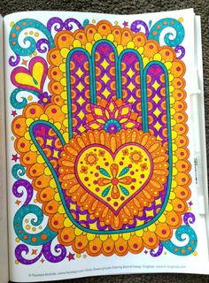 Hamsa heart coloring page from Thaneeya McArdle's Power of Love Coloring Book, colored by Tammy M. Diy Coloring Books, Heart Coloring Pages, Colouring Pages, Doodle Coloring, Mandala Coloring, Adult Coloring, Scrapbook Organization, Scrapbook Supplies, Oil Painting Tips
