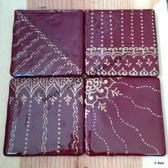 Earth brown with rich gold, Hand-painted henna-style coasters, with acrylics  resin, (c) Bala Thiagarajan, 2014