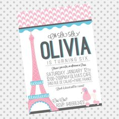 Custom Pink Poodle Paris Party invite  by aprettylittleparty, $12.00