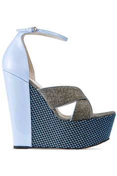 John Galliano Baby Blue Wedge Sandal Resort Shoes 2014 #Shoes #Heels #Wedges