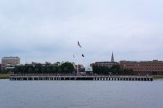 View of Charleston Waterfront Park aboard The General Beauregard Harbor Cruise.