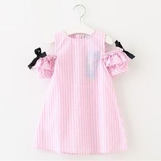 AIUJXK Cotton Bow Short Sleeves Girl Striped Dress Brand Comfortable Leisure Summer Dress Suitable for Girls ClothesTribros 2017 Summer Style Baby Girls Cute Striped Clothing Children's Clothes Next Costume For kids Little Girl Bow DressesShop beauti Baby Outfits, Little Girl Dresses, Kids Outfits, Girls Dresses, Summer Dresses, Bow Dresses, Cotton Dresses, Pink Ruffle Dress, Striped Dress