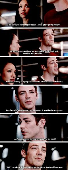 """You knew you were the first person I saved after I got my powers"" - Barry and Iris #TheFlash"