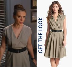 Mistresses episode 2: Savi's (Alyssa Milano) grey/gray pleated collar dress by Akris #getthelook #mistresses