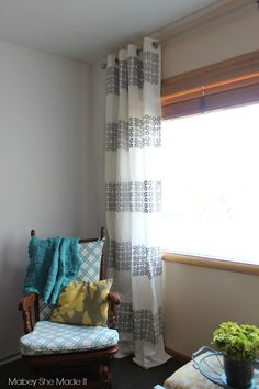 10 Marvelous Cool Tips: Drop Cloth Curtains Bay Window curtains behind bed no headboard.Ikea Curtains Too Long. Ikea Curtains, Curtains Behind Bed, Stenciled Curtains, Cute Curtains, Beige Curtains, French Curtains, Shabby Chic Curtains, Drop Cloth Curtains, Green Curtains